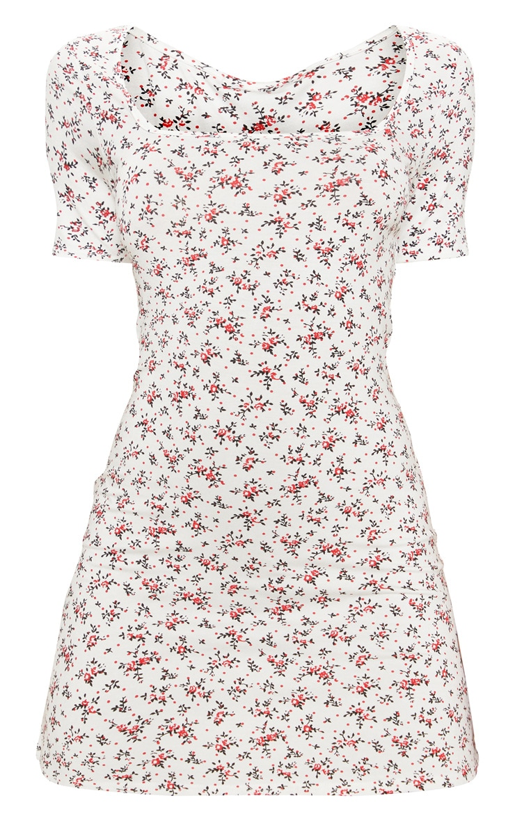 White Ditsy Floral Square Neck Shift Dress 3