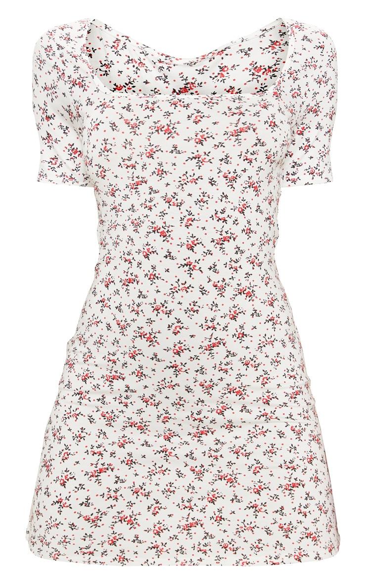 Robe droite blanche imprimée petites fleurs et col carré 3