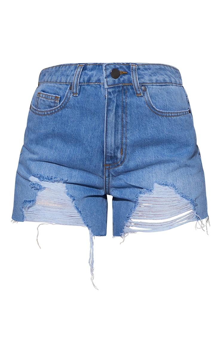 Light Blue Wash Ripped Mom Shorts 6