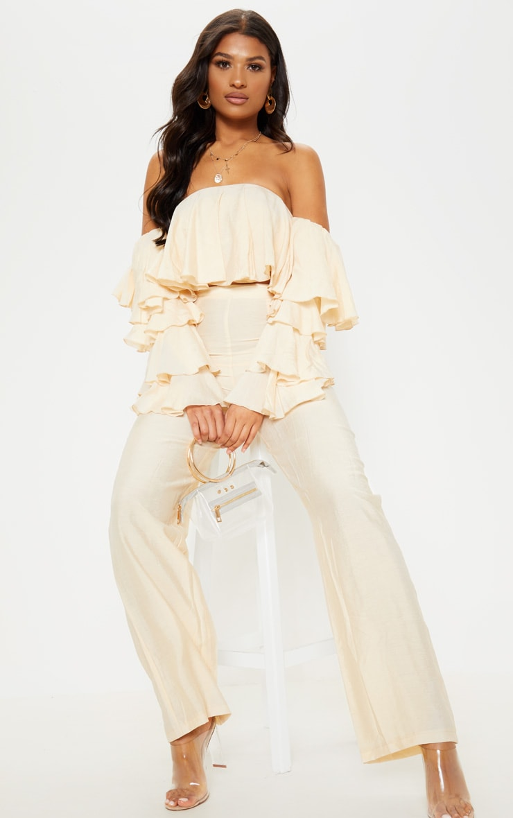Cream Woven Bardot Tiered Sleeve Crop Top 4
