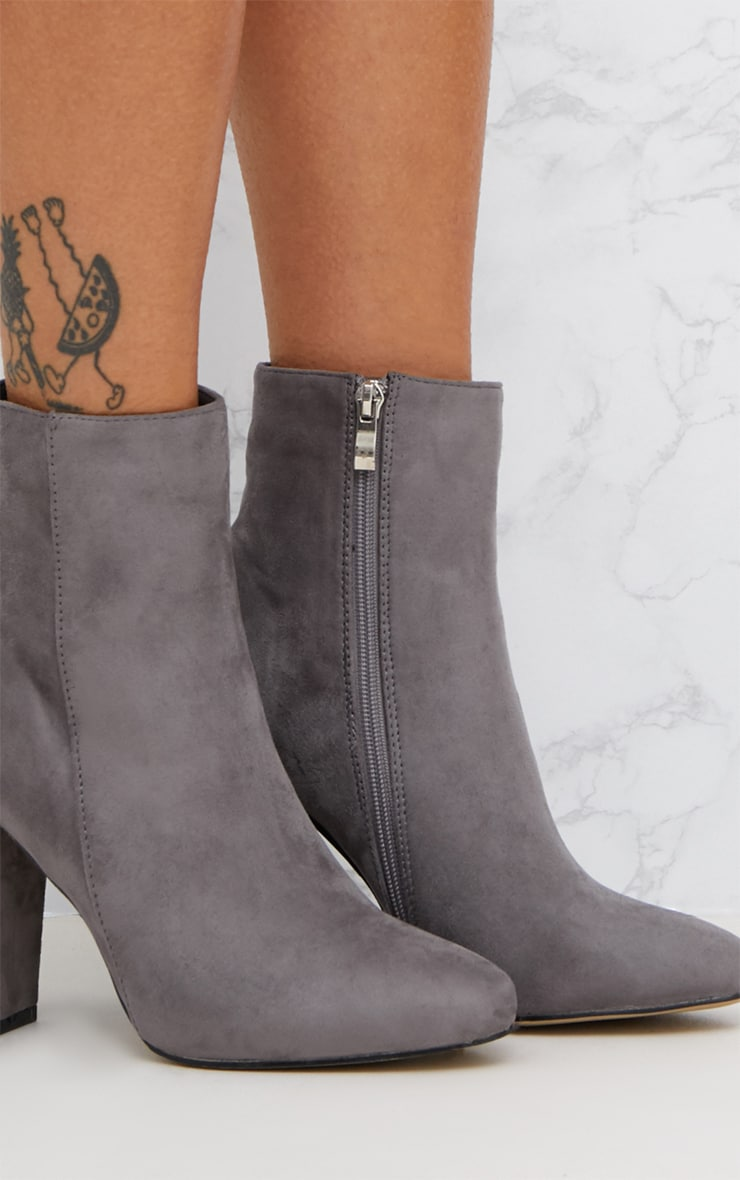 Grey Faux Suede Ankle Boots 5