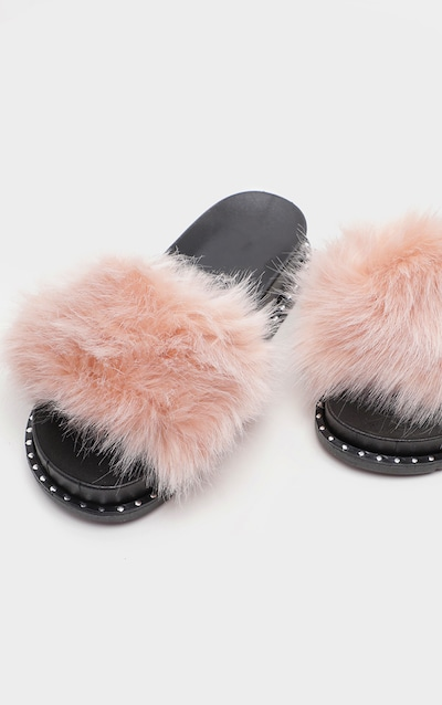 574ad5bfa506 Nude Faux Fur Studded Slider