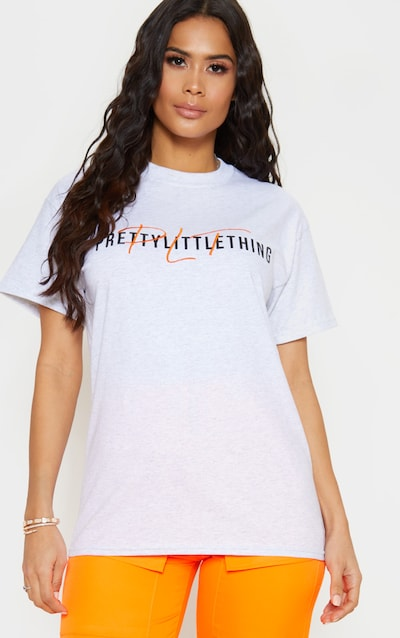 PRETTYLITTLETHING Grey PLT Embroidered Oversized T Shirt f3411c33a