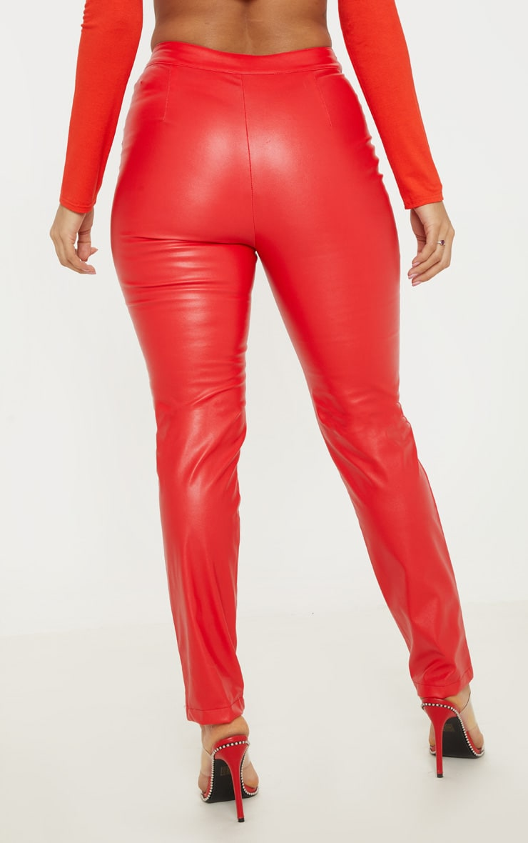 Red Faux Leather Zip Front Panel Detail Straight Leg Pants  4