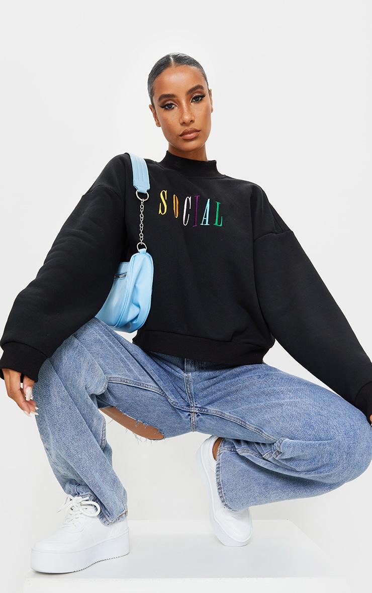 Black Social Slogan Embroidered Fleece Sweater 3