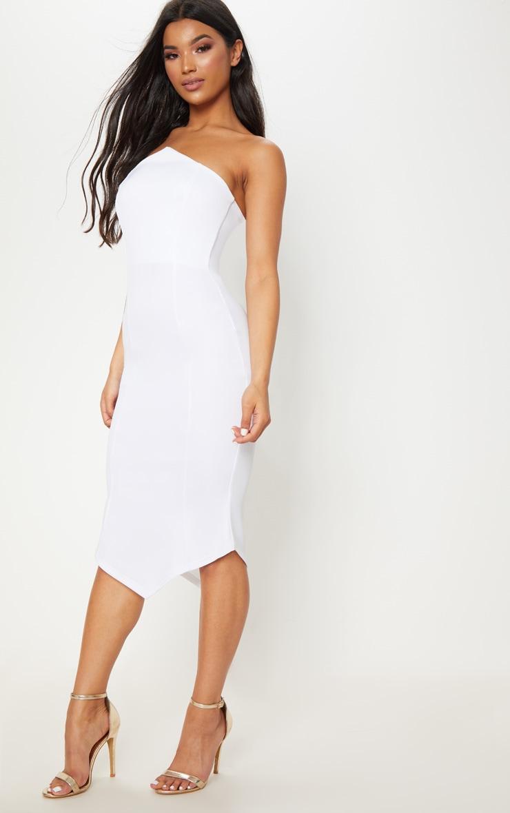 White Pointy Hem Midi Dress 4