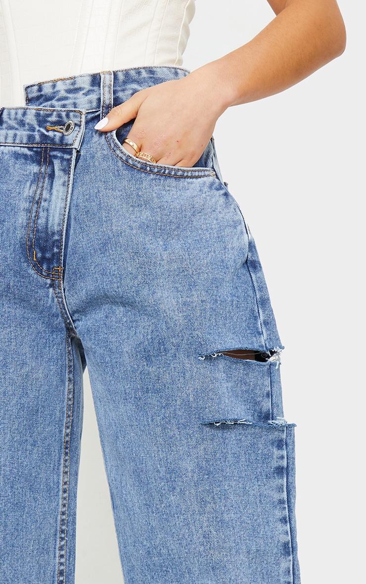Petite Vintage Wash Baggy Low Rise Asymmetric Waistband Thigh Split Boyfriend Jeans 4