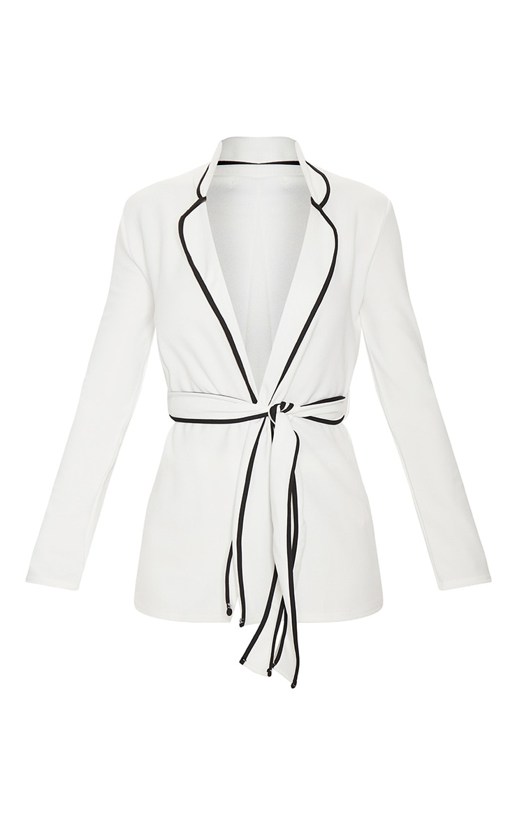 White Contrasting Piping Blazer 3