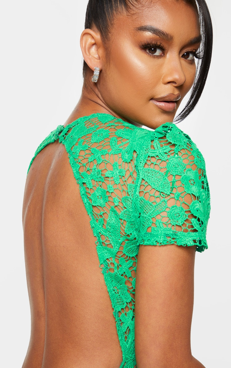 Green Lace Backless Cap Sleeve Bodycon Dress 4