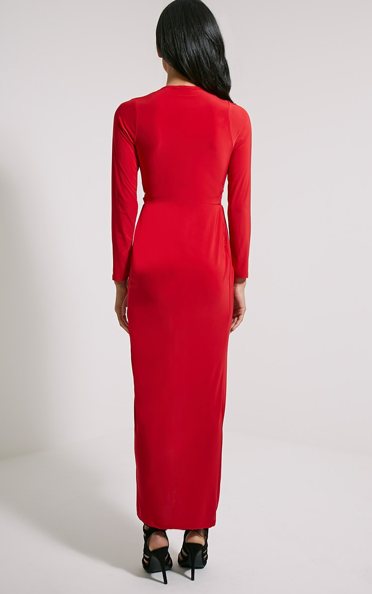 Bex Red Cut Out Maxi Dress 2