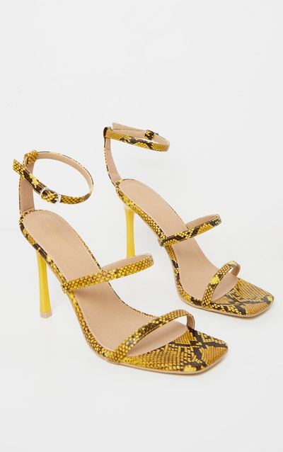 Yellow Snake Triple Strap Square Toe Sandal
