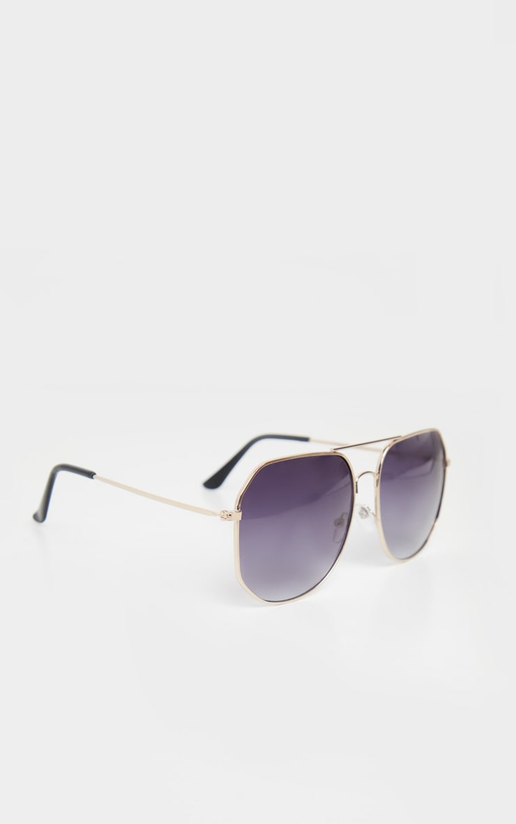 Gold Trim Slight Hexagon Aviator Sunglasses 3