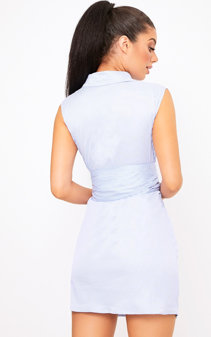 Blue Sleeveless Pinstripe Tie Waist Shirt Dress 3