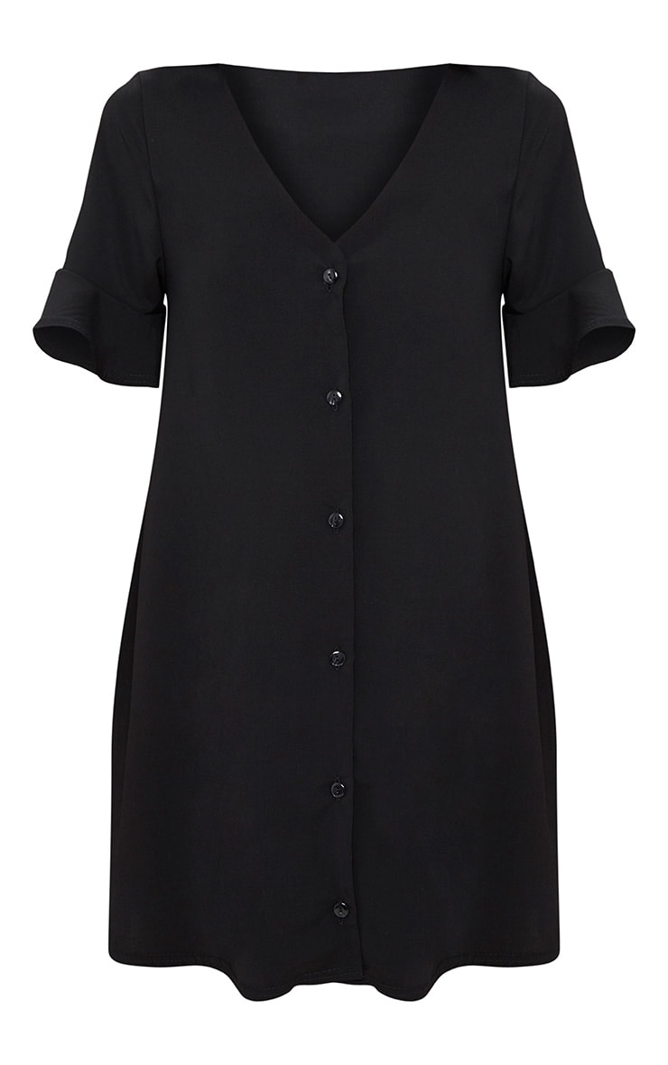 Black Button Through Frill Sleeve Shift Dress 3