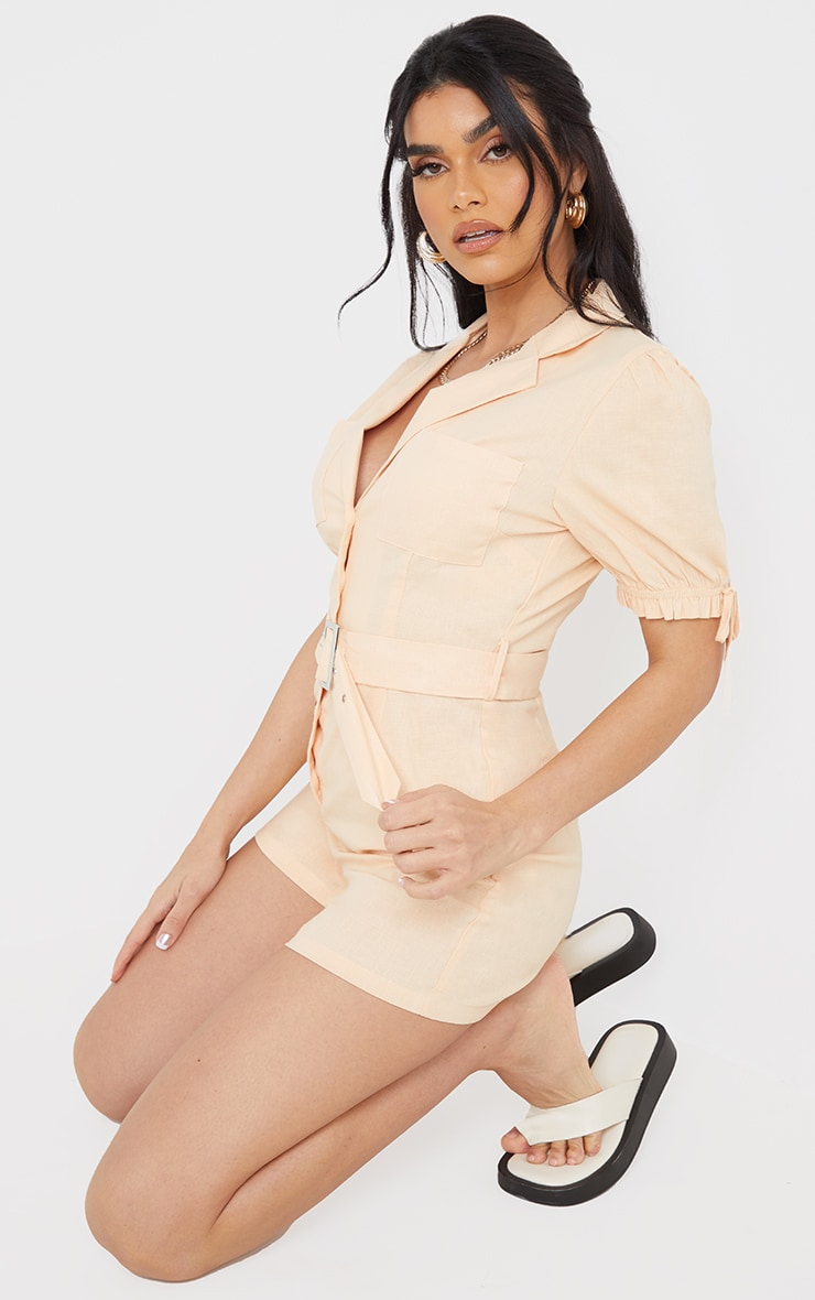Peach Linen Look Puff Sleeve Belted Romper 3