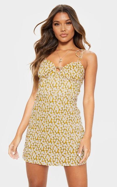 08053b36155 Robe droite moutarde à imprimé floral et bretelles à nouer