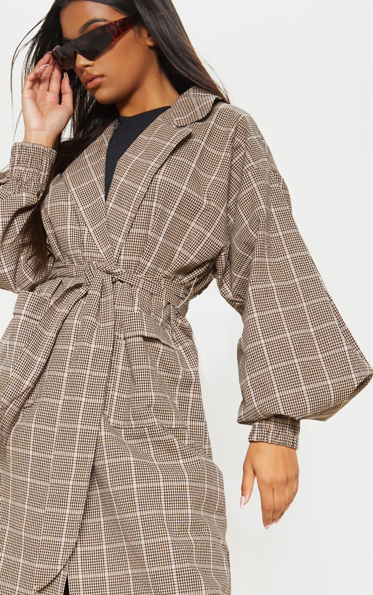 Stone Check Print Balloon Sleeve Tie Waist Trench 5