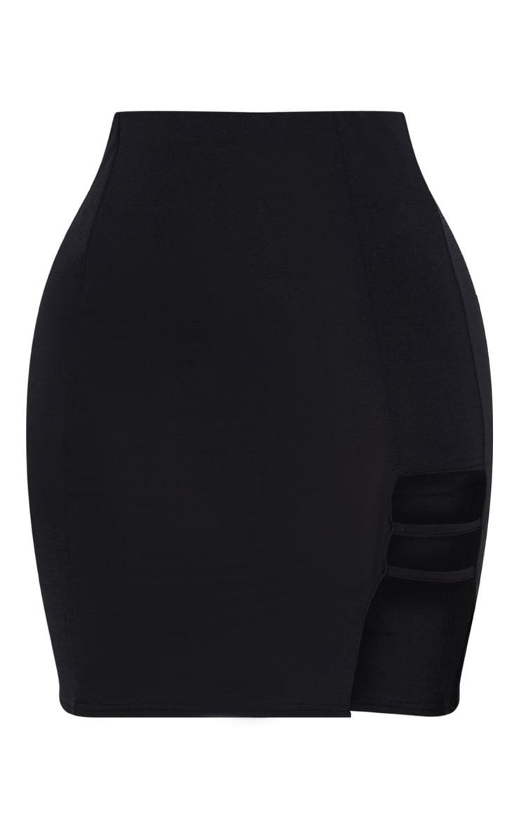 Shape Black Slinky Cut Out Detail Bodycon Skirt 3