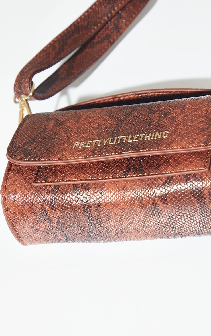 PRETTYLITTLETHING Brown Croc Grab Bag 4