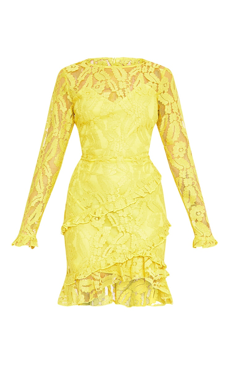 Anneke Yellow Lace Frill Detail Bodycon Dress  3