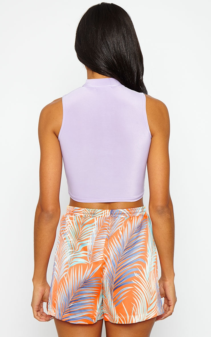 Saylor Lilac Sleeveless Slinky Crop Top 2