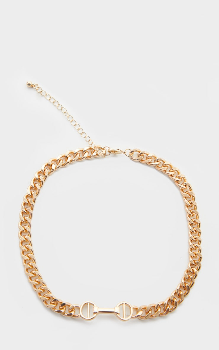 Gold Snaffle Trim Short Chain Necklace 3