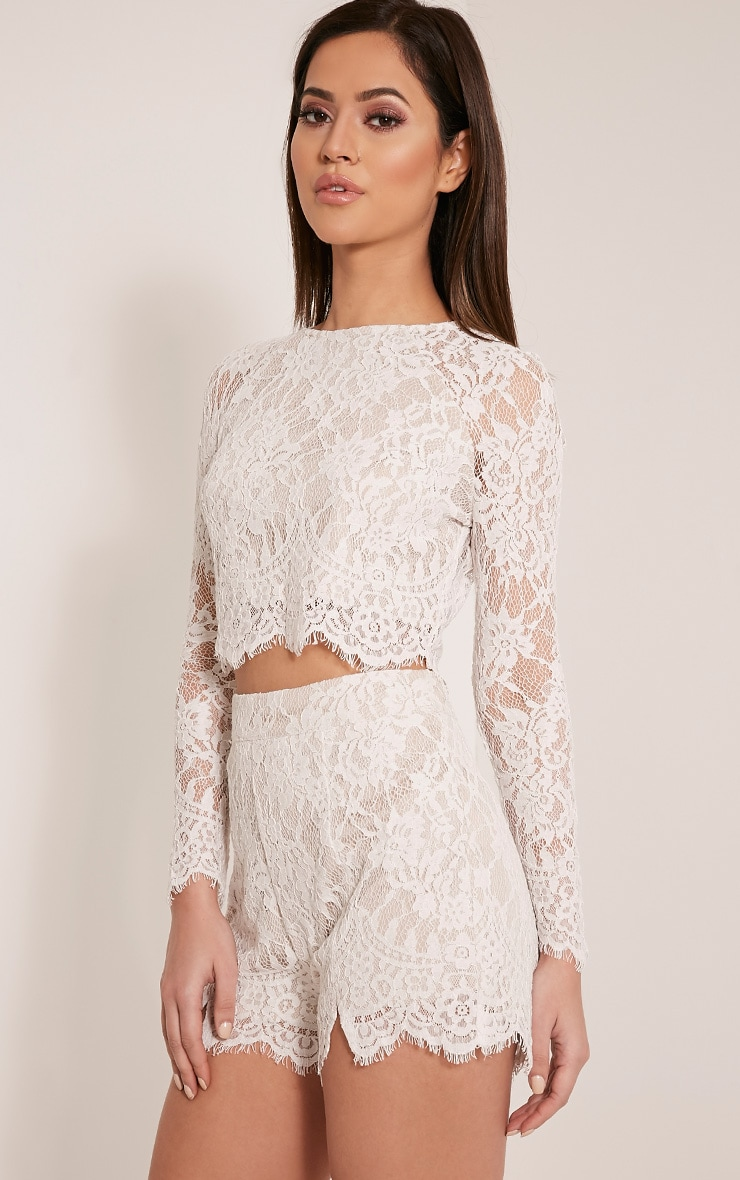 Ellena White Lace Long Sleeve Crop Top 4