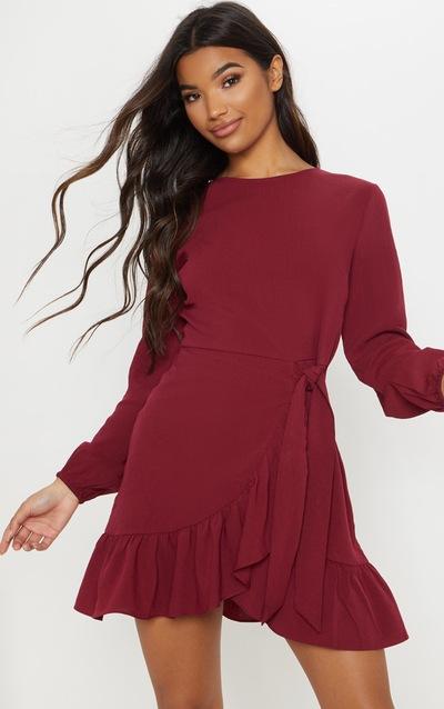 8f70f6756d6 Burgundy Frill Wrap Tea Dress