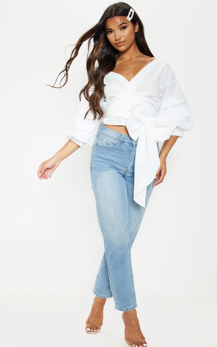 Marlow White Oversized Ruffle Sleeve Low Shoulder Shirt 4