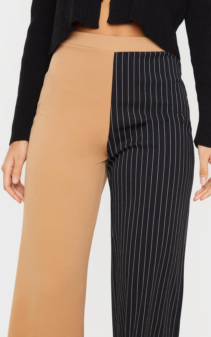 Camel Pinstripe Contrast Leg Wide Leg Pants 4