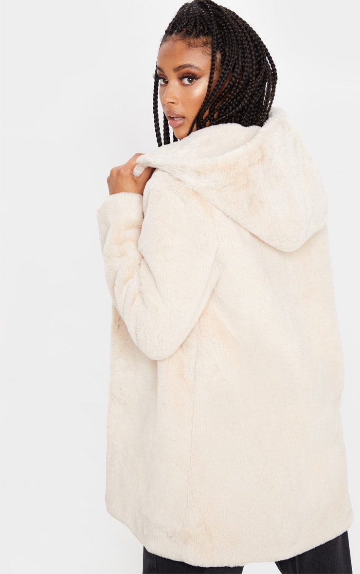 Stone Faux Fur Hooded Coat 2