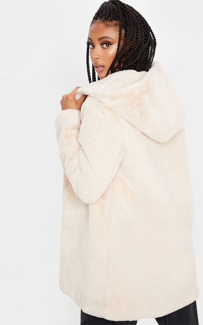 Stone Faux Fur Hooded Coat