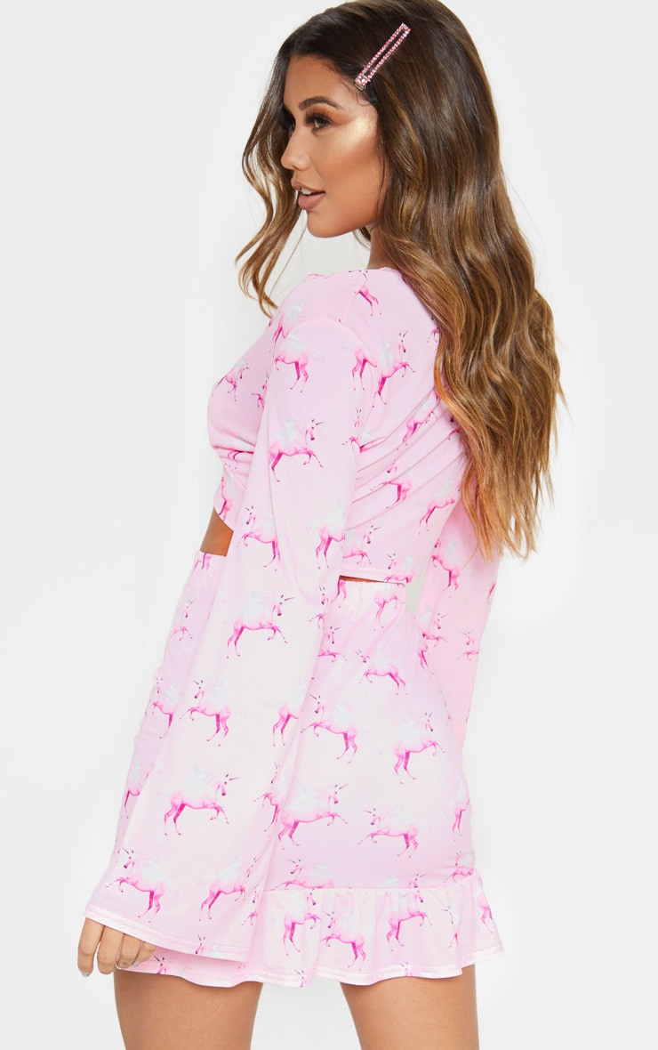 PRETTYLITTLETHING Unicorn Pink Tie Front Blouse 2