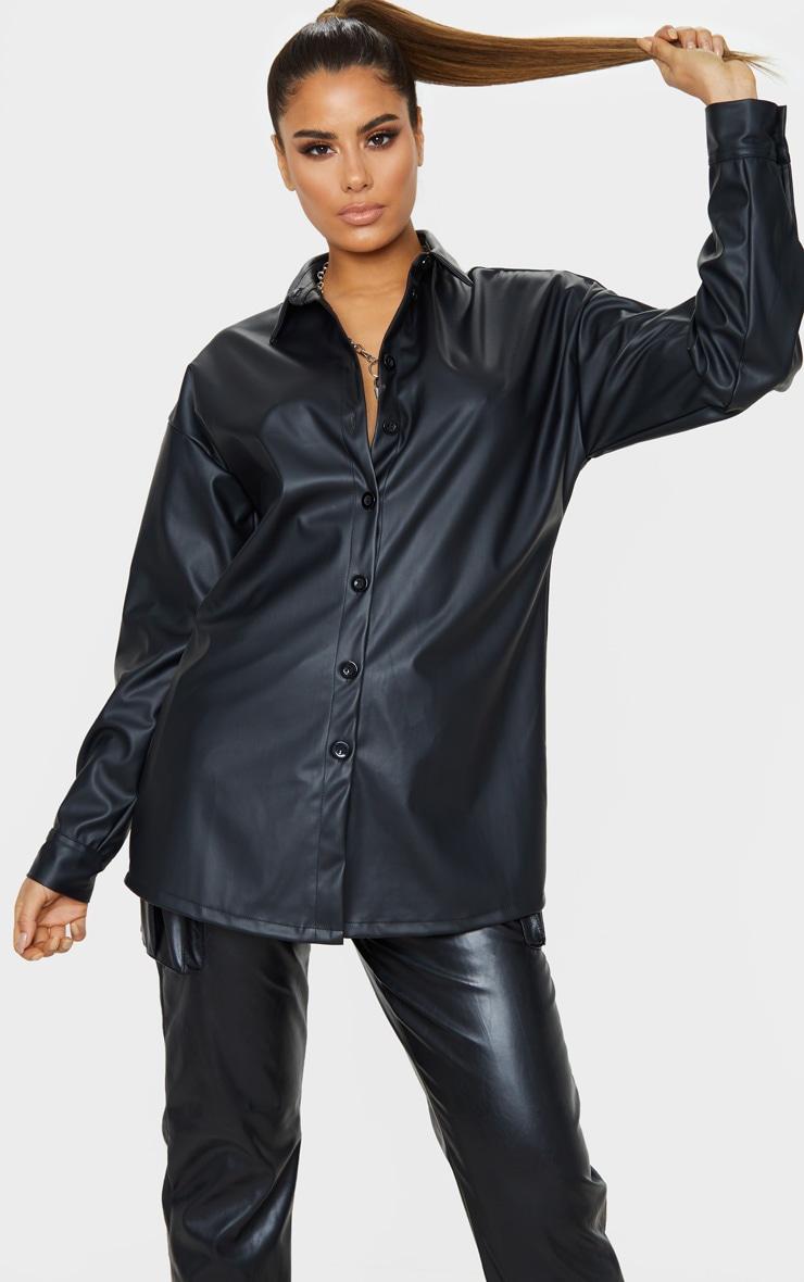 Tall Black Oversized PU Shirt  1