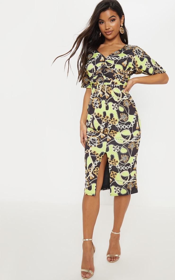 black chain print slinky ruched top batwing midi dress