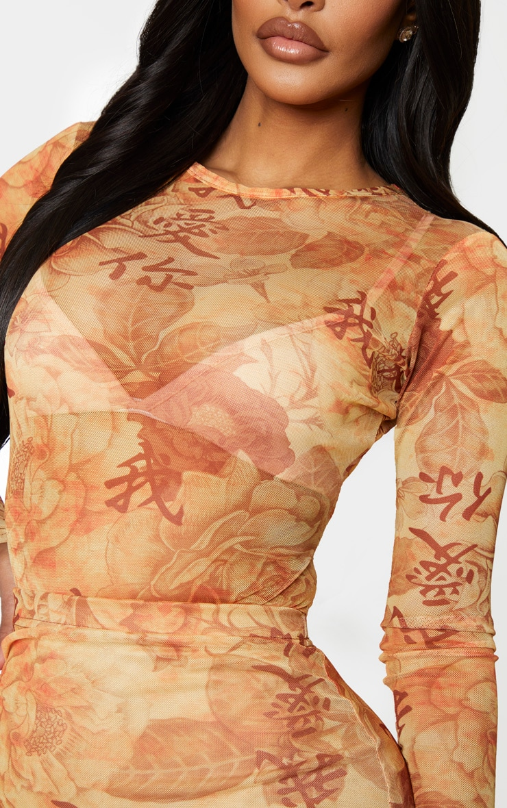 Shape Stone Oriental Printed Mesh Long Sleeved Bodysuit 5