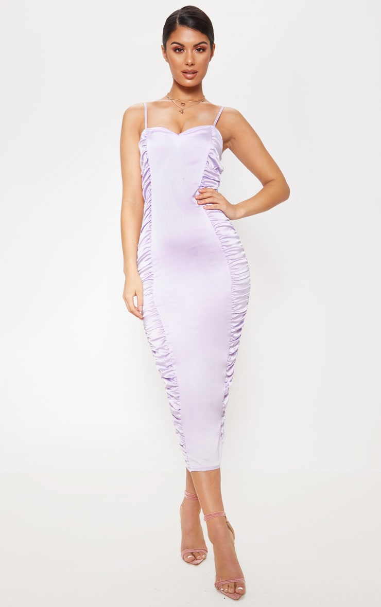 Lilac Satin Ruched Midaxi Dress