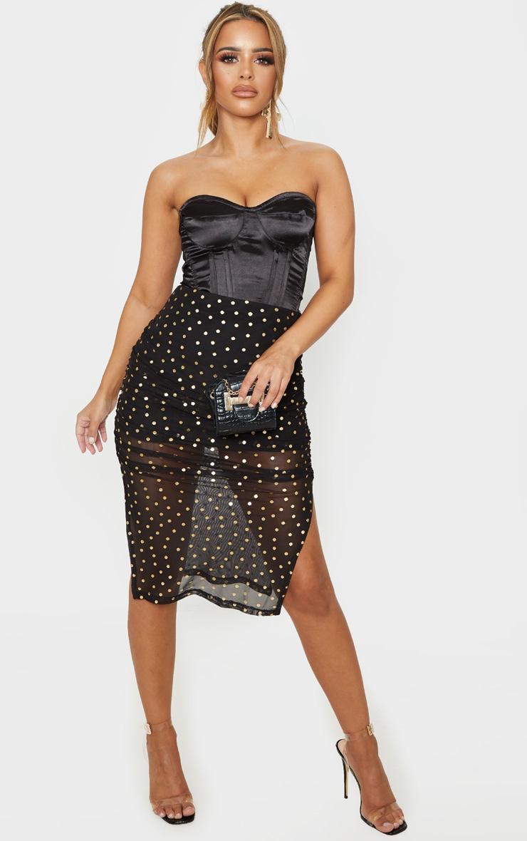 Petite Black Polka Dot Ruched Side Midi Skirt 1