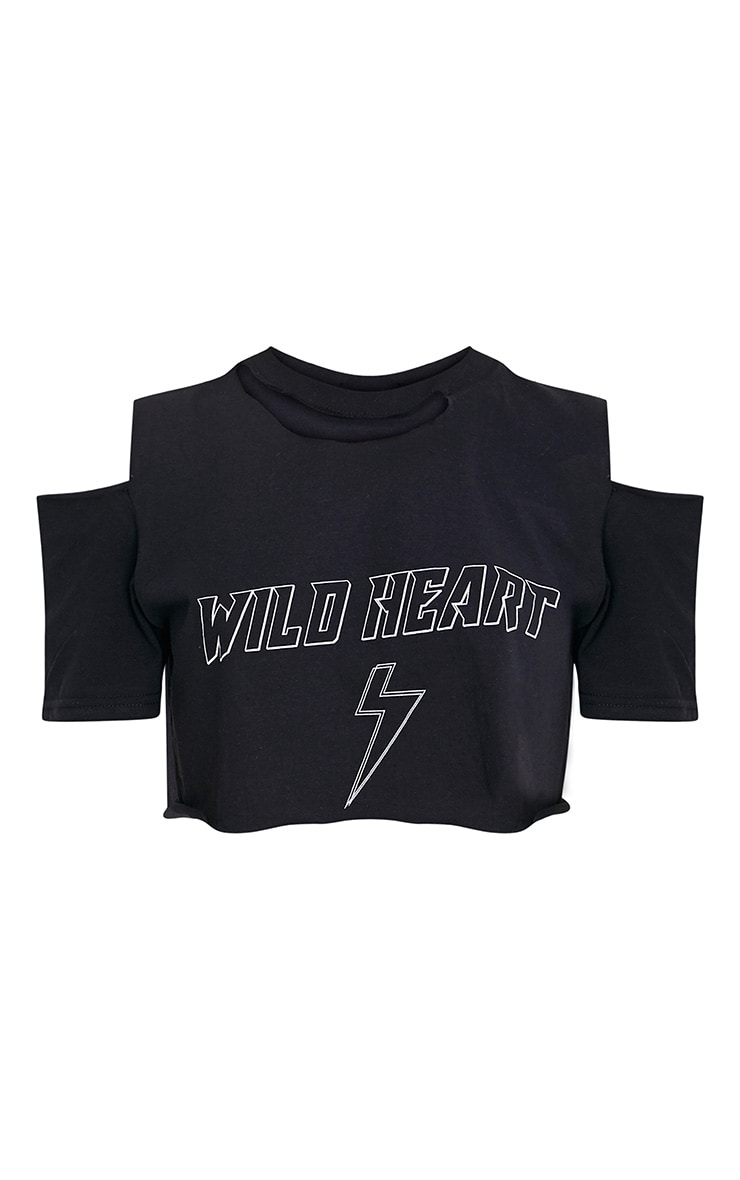 WILD HEART Black Ripped Crop T Shirt 3