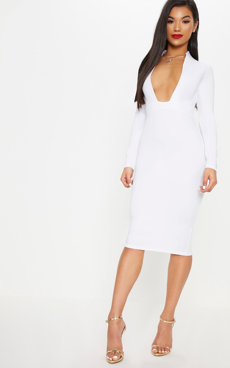 White Bonded Scuba Collar Plunge Midi Dress 1