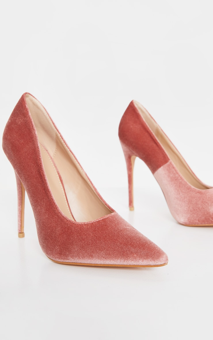 Blush Velvet Court Shoes 4