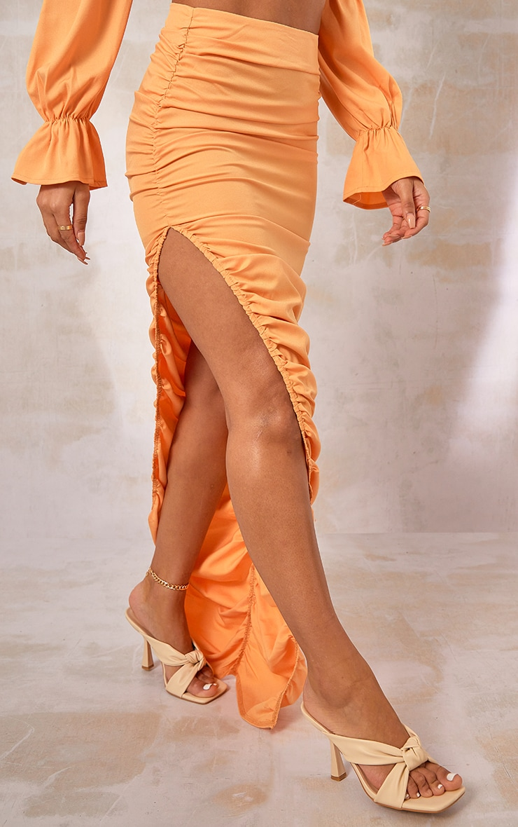 Orange Woven Ruched Side Detail Split Leg Midaxi Skirt 2