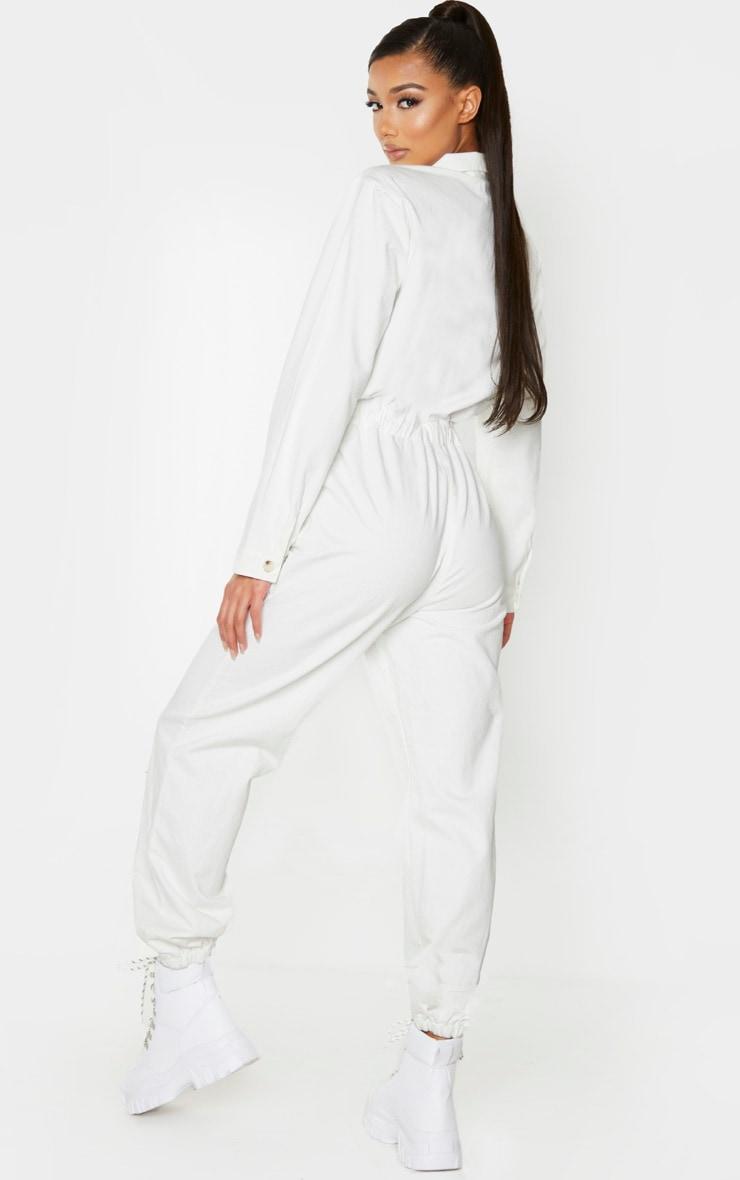 White Button Up Double Pocket Elastic Waist Denim Jumpsuit 2