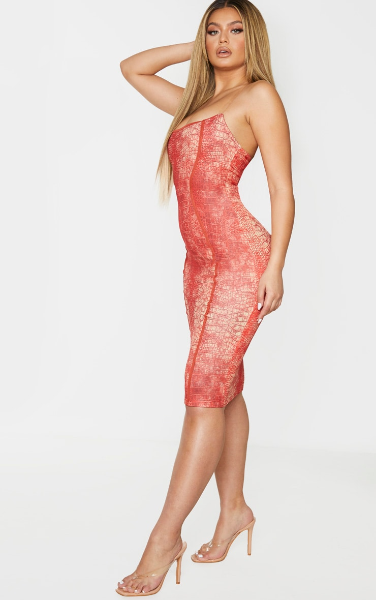 Red Snake Print Binded Detail Clear Strap Midi Dress 3