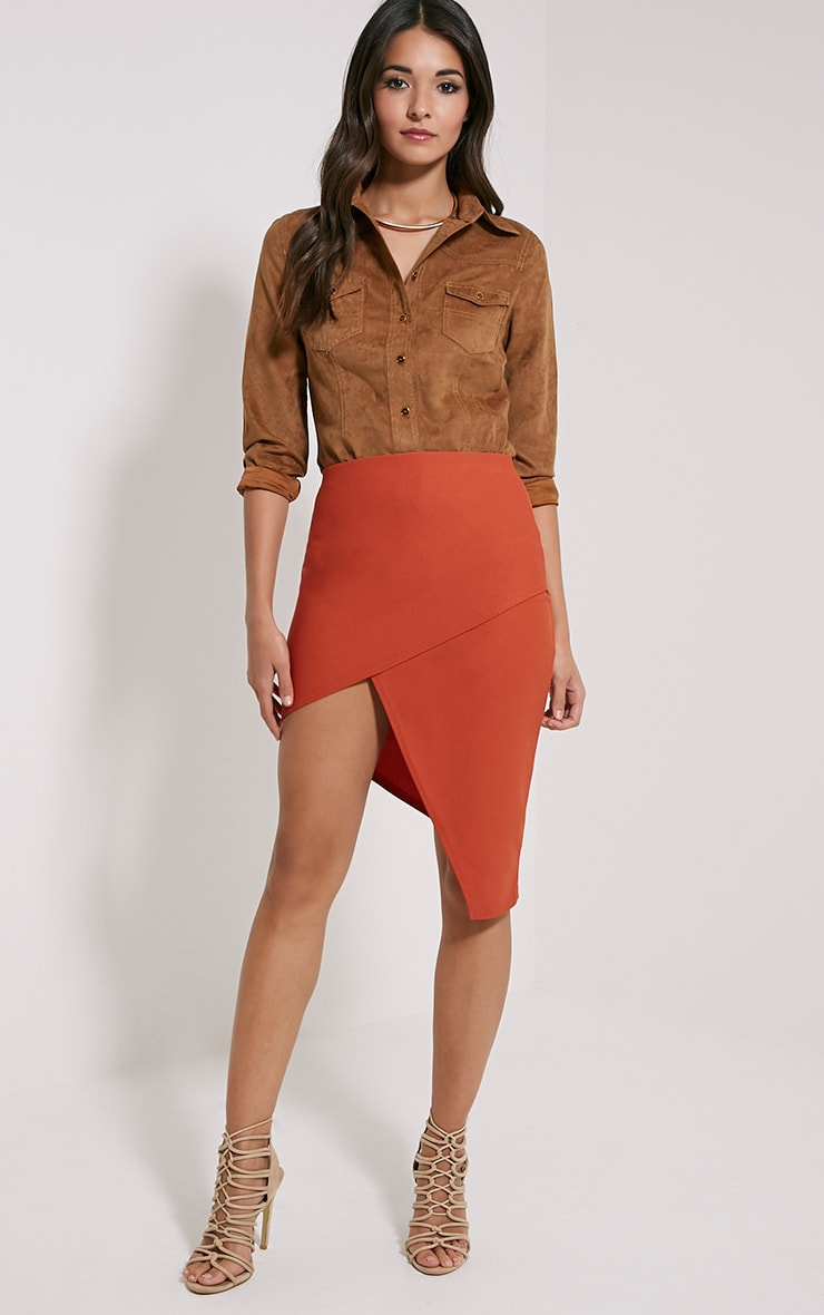 Libby Rust Asymmetric Mini Skirt 5