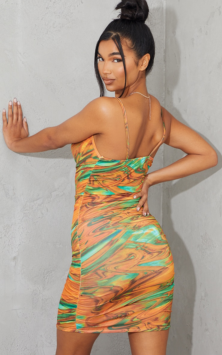 Multi Marble Print Strappy Ruched Bodycon Dress 2
