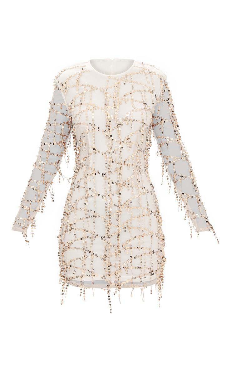 Freyana Rose Gold Sequin Detail Long Sleeve Bodycon Dress image 3