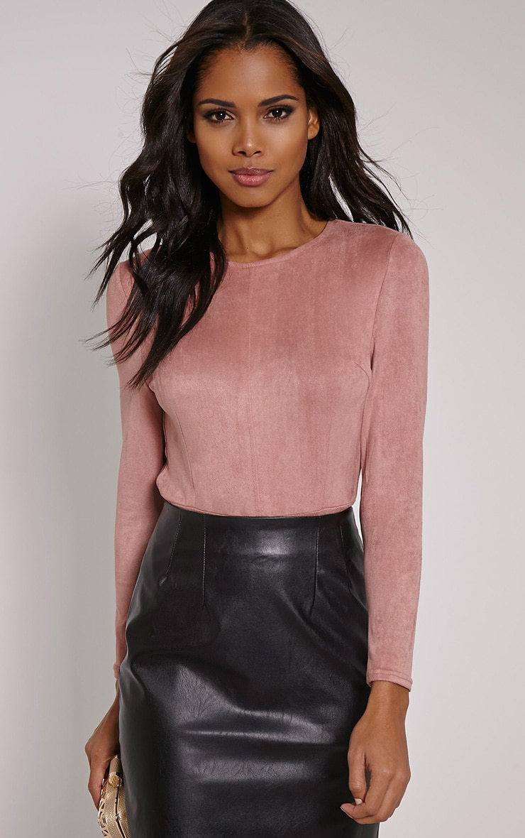 Rayna Rose Faux Suede Backless Buckle Bodysuit 5