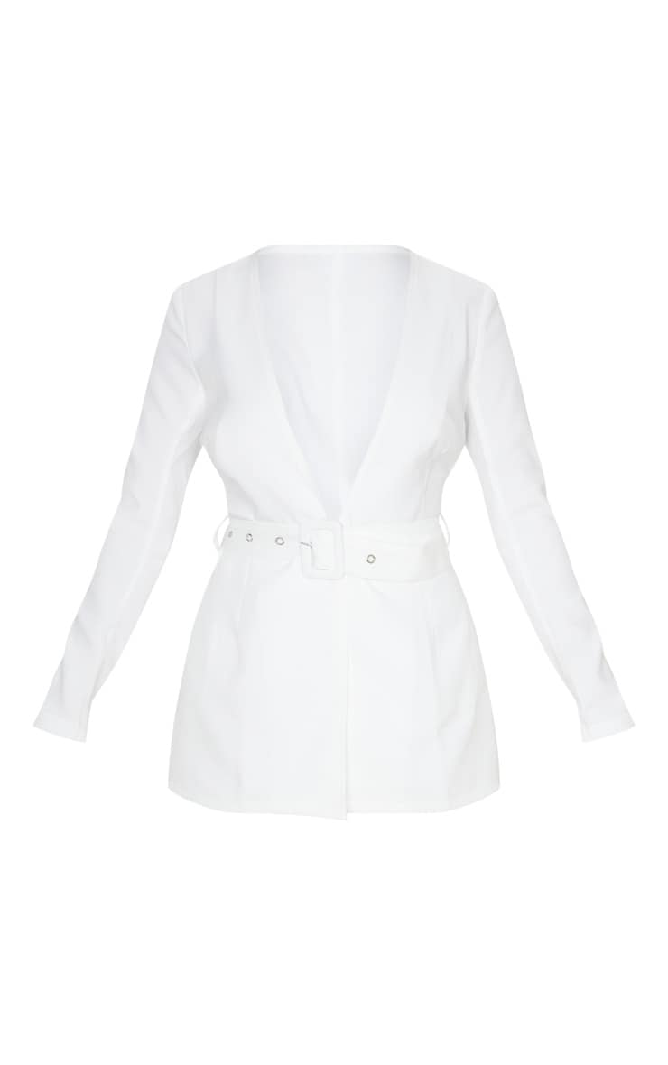 Petite Cream Belted Woven Suit Jacket 3