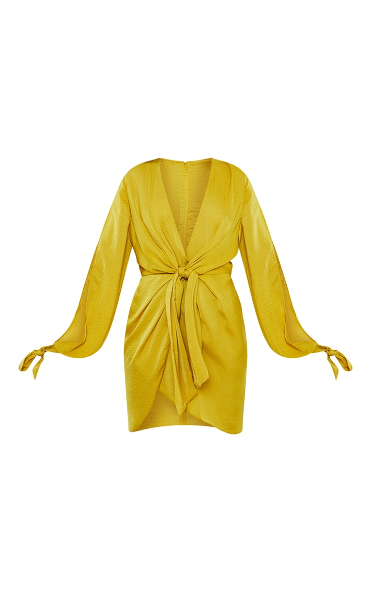 Chartreuse Tie Sleeve Plunge Shift Dress 5